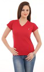 Ladies Red V Neck T-Shirt