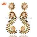 CZ Rainbow Moonstone Gemstone Designer Earring