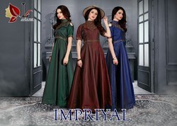 MF HOUSE IMPRIYAL 3 colour Gowns With Hevy Daimand Works