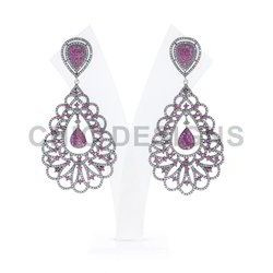 Diamond Ruby Dangle Earrings