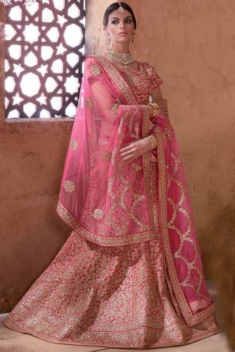 d8074752e8 Pink Color Designer Banarasi Silk Bridal Lehenga Choli at Rs 26318 ...
