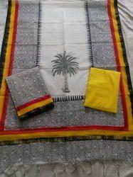 Patterned Plain Chanderi Suit