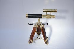 Vintage Brass Double Barrel Telescope - Brass Shiny Polished