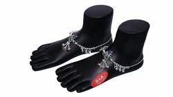 Antique Silver Anklet Peacock Design