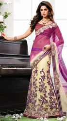 Purple and Cream Net Lehenga Style Saree with Blouse