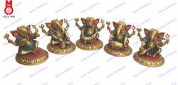 Lord Ganesh Sitting Playing Musical Set Of 5 Pcs Statue
