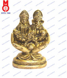 Lord Laxmi & Ganesh Sitting On Hand W/Base