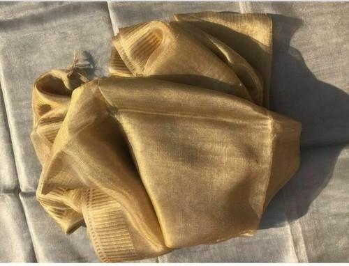 Golden And Silver Clour Party Wear Tissue Linen Saree