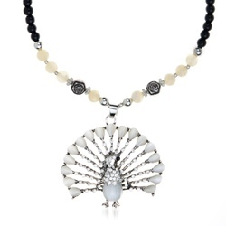 Party Wear Women Black And White Beads Necklaces