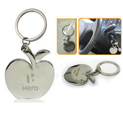 Corporate World Silver Apple Shape Metal Keychain