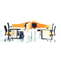 Wood Brown Office Modular Workstation for Corporate Office