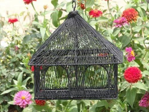 Black Decorative Double Window Metal Bird House