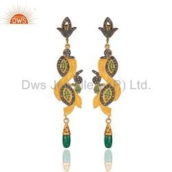 Designer Gold Plated Silver Emerald Diamond Earrings Jewelry