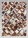 Brown, White Sge Patchwork Leather Carpets