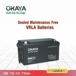 Okaya 75Ah SMF VRLA Battery, Model Name/Number: OB75-12, 12 V
