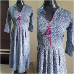 3/4th Sleeves Cotton One Piece Dress