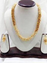 Gold & White Moti Mala