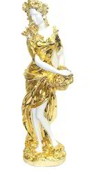 Polyresin White and Golden Lady Statue