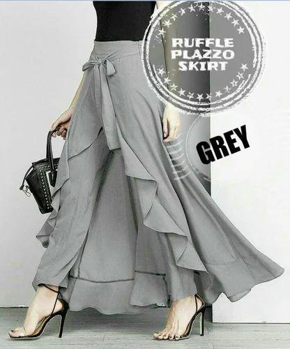 aa489cb8b6aa Ruffle Palazzo Skirt, स्लेटी रफ़ल पलाज़ो ...