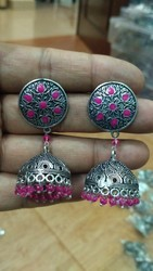 Ganapathy Gems Party Pink Metal Jhumka Earings