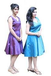 Seona Two tone blue and peach Designer Dress, 18 to 40
