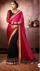 Pink And Black Embroidered Lehenga Saree