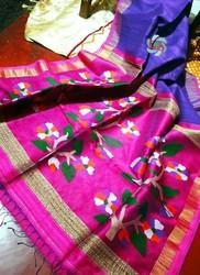 Pure Silk Matka Jamdani Sarees with Blouse Piece