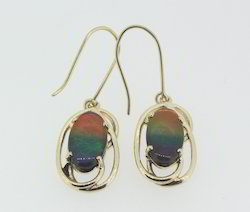 14k Gold Ammolite Dangling Earrings
