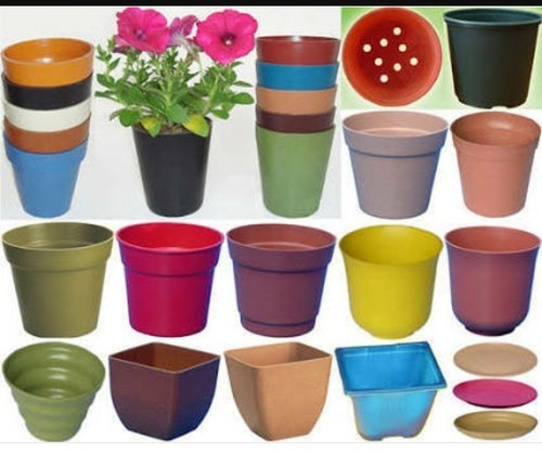 Brown Round Plastic Flower Pot