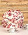 Cotton Pink and Red Printed Tea Warmer Handmade Tea Cozy