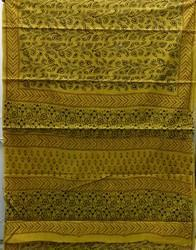 Green Bagru Print Bordered Cotton Saree