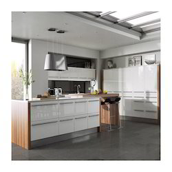 White High Gloss Acrylic Modular Kitchen