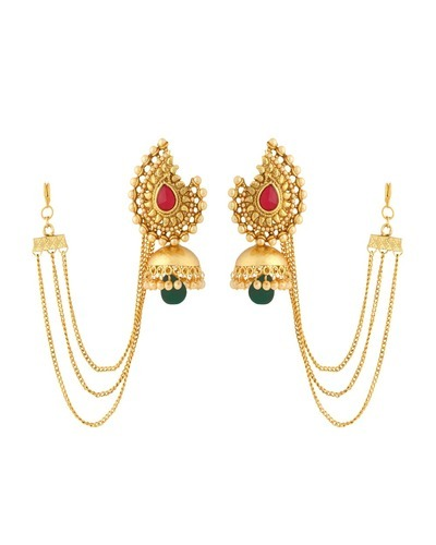 Traditional Women S Jhumka Earrings With Dainty Sahara Chain At