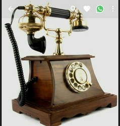 Wood And Brass Brown Antique Telephone