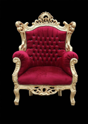 Red Gold Mounted Baroque Chair Gurukrupa Golden Touch Art Gallery