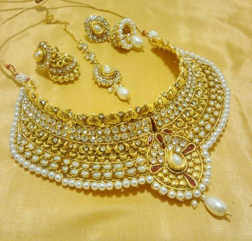 fcf3d74843e38 Lalso White Wedding Bridal Jewellery Choker Necklace