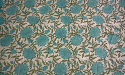 Sea Jaal Block Printed Fabric