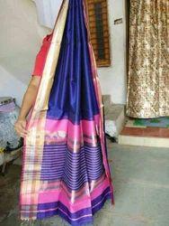 Blue Silk Maheshwari Saree, Construction Type: Hand