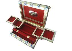 MDF Rectangle Silver Golden Oxidized Jewellery Box, For Home