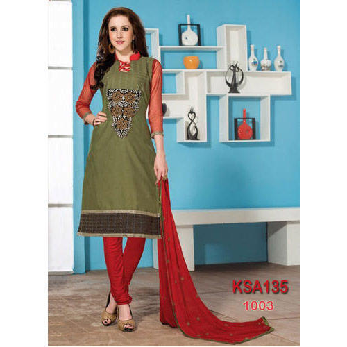 77ac93a23f Green And Red Cotton Straight Cut Suit at Rs 489 /piece | Ladies ...