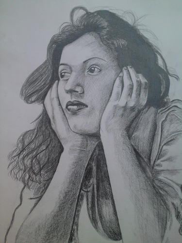 Pencil sketch of madhubala