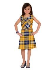 Fawn And Multi Printed Kids Midi Dress