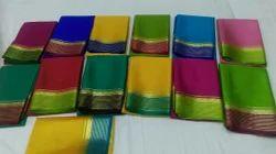 Party Wear Plain Mysore Silk Saree, 6.3 m (with blouse piece)