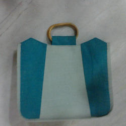 Jute Bag With Blue Gusset
