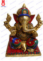 Brass Multicolor Ganesh Sitting Sq.base In Wire & Beeds Stone Work Statue