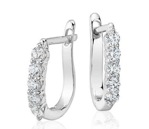 Natural Studded Hoop Diamond Earring Clip On 14k
