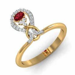 Maroon Stone 14k Gold Diamonds Ring