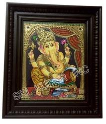 Writting Ganesh Tanjore Paintings 24x18 T-Wood Money Frame