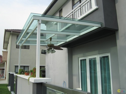 Mild Steel Glass Canopy ग्लास कैनोपी Sky Interiors