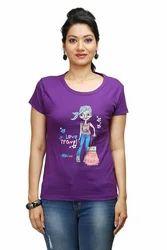 Women Round Neck Purple T-Shirt